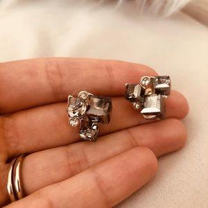 Silver Cluster Rhinestone Earring